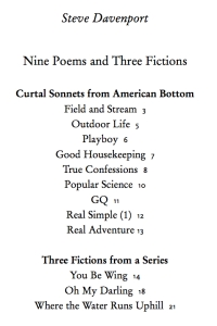 Davenport Nine Poems and Three Fictions