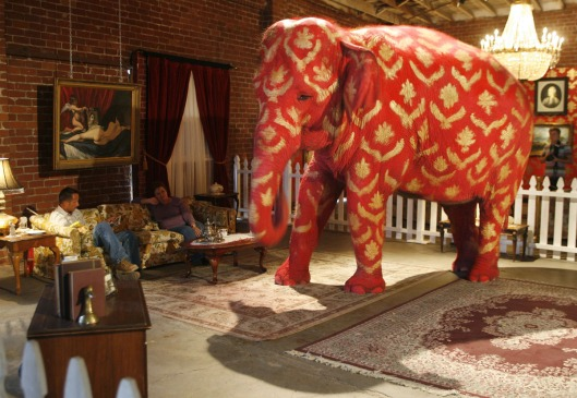 "Asian elephant, painted by British underground artist Banksy, is displayed at ""Barely Legal"" exhibition in Los Angeles"