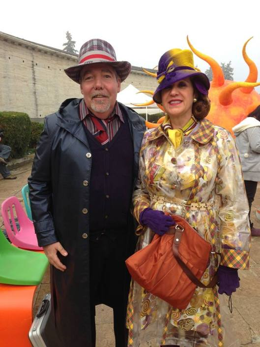 Pat Rushin and his wife Mary on the set of The Zero Theorem.
