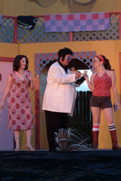 As Falstaff in 2005's %22The Merry Wives of Windsor,%22 with Megan Ford as Pistol and Kelly Ainsworth as Nym