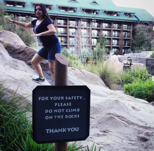 Do not climb on rocks