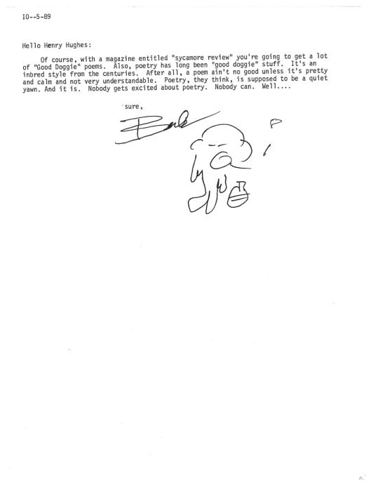 Bukowski Hughes letter 1