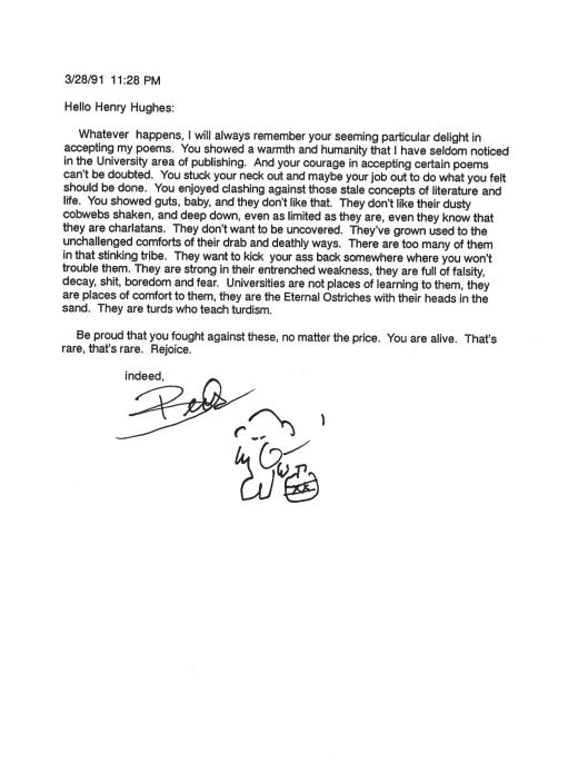 Bukowski Hughes letters 5